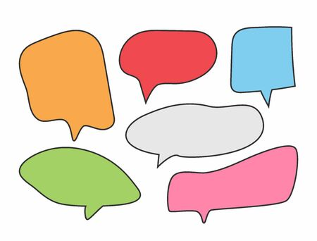 Set of colorful speech bubbles. Group of colored blank stickers. Cartoon vector illustration.