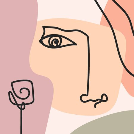 Stylish abstract collage with sketches of human face and rose. Modern vector illustration.