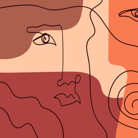 Abstract creative collage with sketch of human face. Drawn by hand. Modern vector illustration.