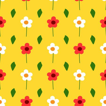 Cute seamless pattern with repeated flowers and leaves. Simple floral print. Vector illustration. Ilustrace