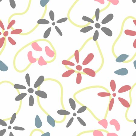 Floral seamless pattern. Simple print with flowers and abstract shapes. Cute vector illustration. Vecteurs