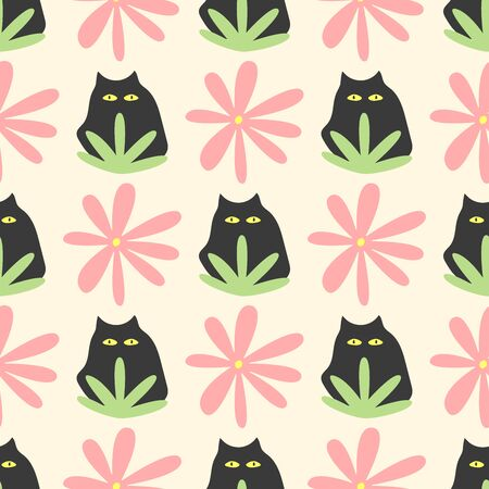 Seamless pattern with repeating cat, flower and plant. Funny print. Simple vector illustration.