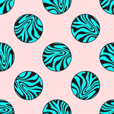 Stylish seamless print with circles with a marble pattern. Modern vector illustration.