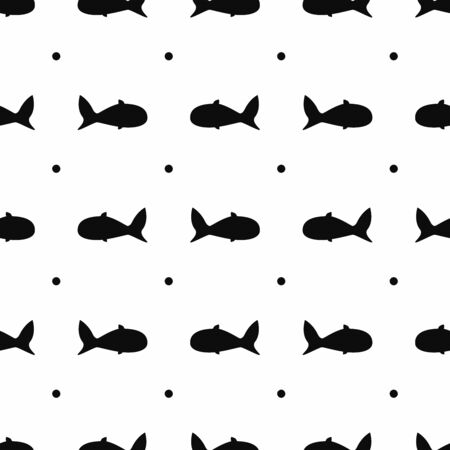 Seamless pattern with abstract fish silhouettes and polka dots. Simple minimal print. Vector illustration.