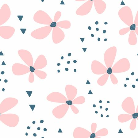 Simple floral seamless pattern. Cute girly print. Vector illustration.