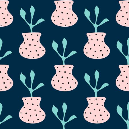 Simple seamless pattern with a plant in a vase. Cute modern vector illustration.