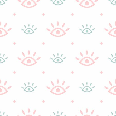 Cute seamless pattern with repeating eyes and polka dots. Modern trendy print. Simple vector illustration. 向量圖像