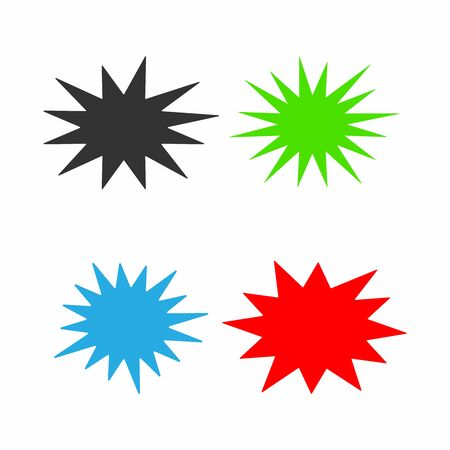 Set of colorful starburst. Collection of vector elements.