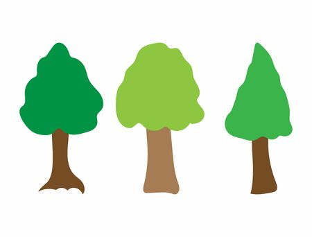 Set of colored abstract trees. Simple vector illustration.