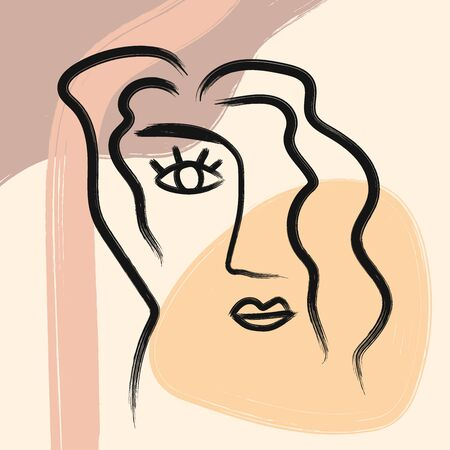 Outline of woman's face and hair on abstract background drawn by hand. Sketch, watercolor, paint. Modern vector illustration. Vector Illustratie