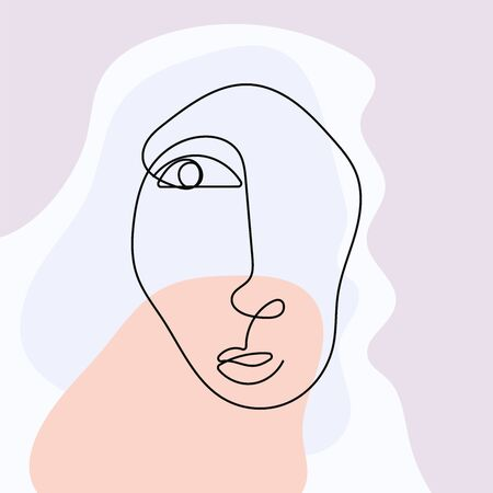Sketch of face drawn in continuous line on abstract background. Modern vector illustration.