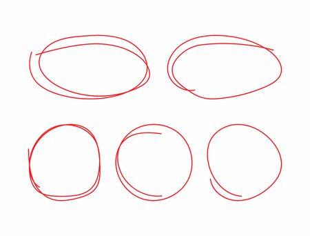 Set of circles and ovals drawn by hand. Doodle, sketch, scribble. Vector illustration. Иллюстрация