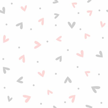 Cute romantic seamless pattern. Simple endless print with scattered small hearts and dots. Vector illustration. Иллюстрация