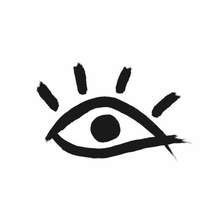 Eye with eyelashes drawn by watercolor brush. Sketch, paint, ink. Isolated vector illustration. Иллюстрация