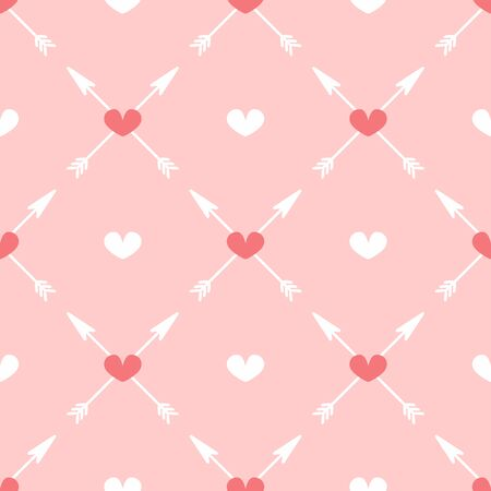 Cute seamless pattern with arrows and hearts. Girly flat print. Romantic vector illustration. Иллюстрация