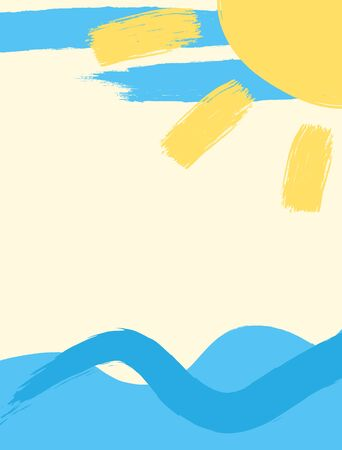 Summer background with waves and sun drawn with a rough brush. Grunge, watercolor, sketch. Vertical vector illustration. Иллюстрация