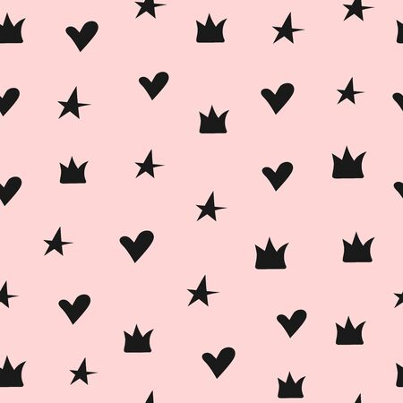 Cute seamless pattern with crowns, hearts and stars. Girly vector illustration.