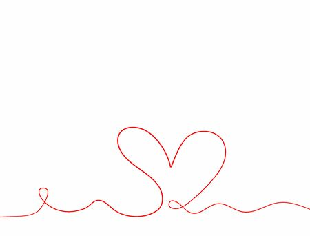 Horizontal background with heart drawn by hand in continuous line. Sketch, doodle. Vector illustration.