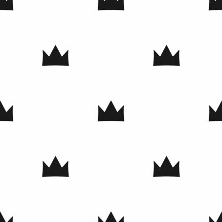 Simple seamless pattern with repeating crown. Monochrome vector illustration.