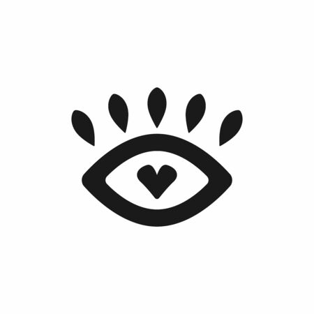 Abstract isolated eye with heart and lashes. Icon, symbol, sign. Flat vector illustration. Иллюстрация