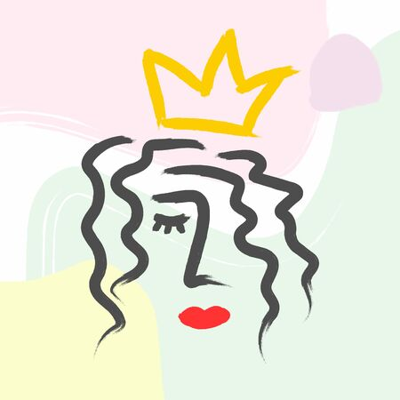 Abstract sketch of woman's head with crown on abstract background. Drawn by hand with watercolor paint. Modern vector illustration.