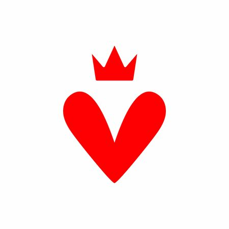 Isolated icon of heart and crown. Vector illustration. Фото со стока - 148395817