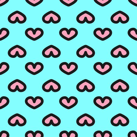 Simple seamless pattern with hearts. Cute endless print. Bright vector illustration.
