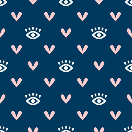 Seamless pattern with eyes and hearts. Cute girly endless print. Simple vector illustration. Иллюстрация