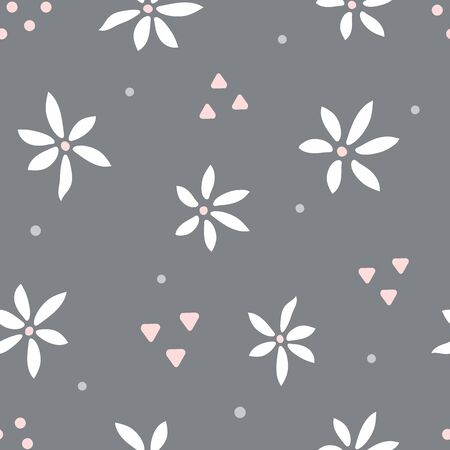 Seamless pattern with flowers and geometric shapes. Simple floral print. Modern vector illustration.
