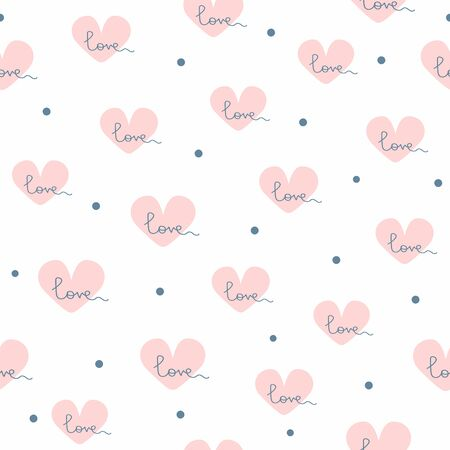 Simple seamless pattern with scattered dots and hearts with handwritten text Love. Cute vector illustration. Иллюстрация