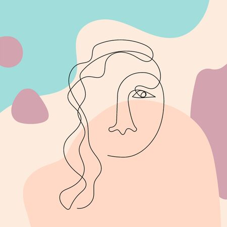 Sketch of female face on abstract background. Drawn in continuous line. Modern vector illustration. Иллюстрация