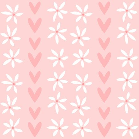 Cute seamless pattern with flowers and hearts. Flat vector illustration.