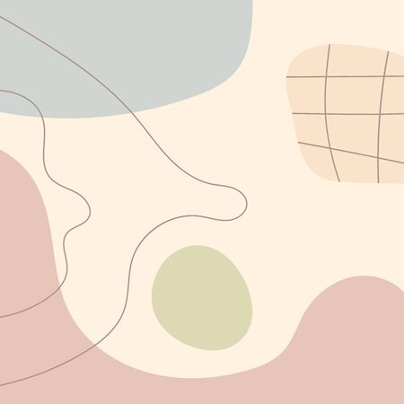 Abstract template with organic and geometric shapes. Drawn by hand. Modern vector illustration. Иллюстрация