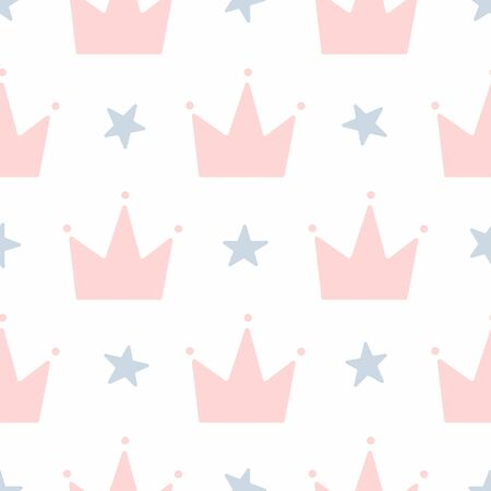 Cute seamless pattern with crowns and stars. Simple vector illustration for girls. Иллюстрация