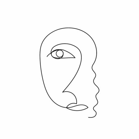 Sketch of female face drawn by continuous line. Vector illustration.