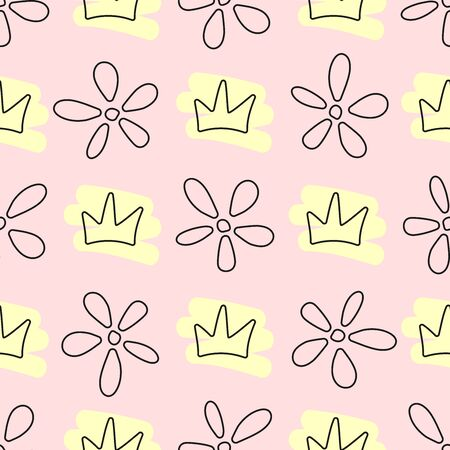 Seamless pattern with crowns and flowers drawn by hand. Doodle, sketch. Cute vector illustration. Иллюстрация