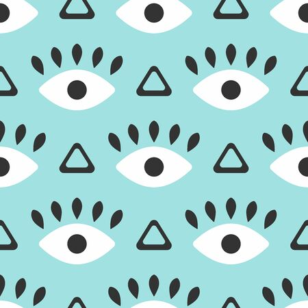 Seamless pattern with repeating eye and triangle. Modern vector illustration.