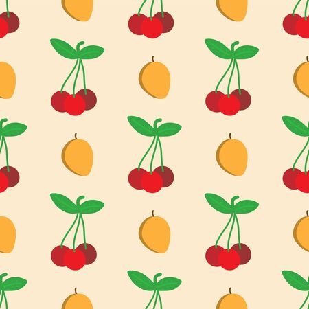 Flat seamless pattern with cherries and apricots drawn by hand.