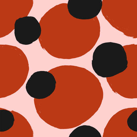 Seamless pattern with chaotic round spots drawn with a watercolor brush. Sketch, paint, ink. Simple vector illustration. Illusztráció