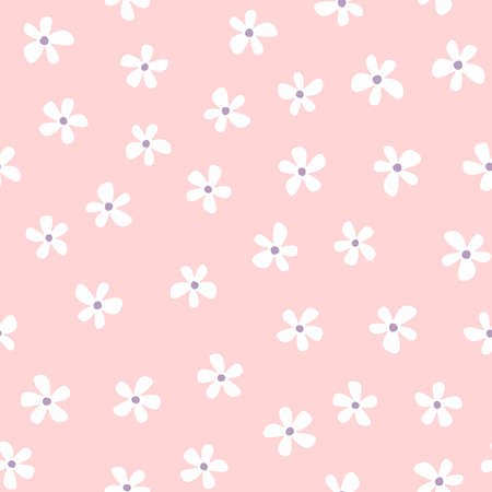 Simple seamless pattern with repeated white flowers on pink background. Cute floral vector illustration.