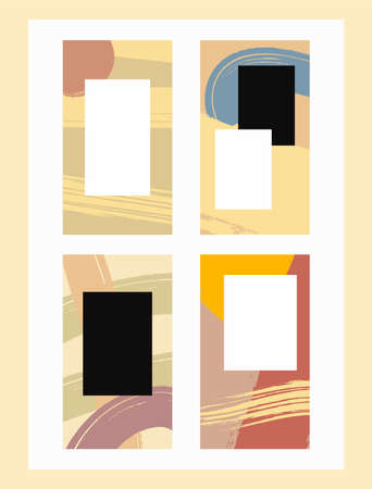 Set of templates for social media stories. Watercolor, paint, ink. Vector illustration.