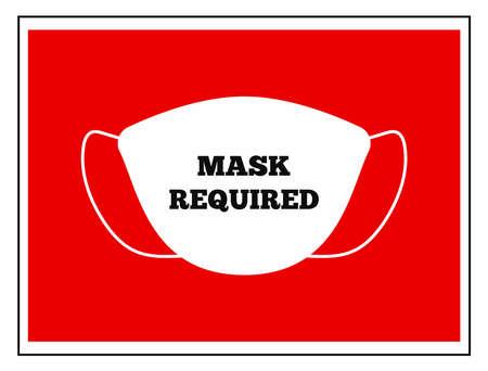 Prevention of coronavirus. Warning Mask Required. Flat vector illustration.