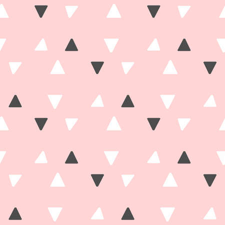 Cute seamless pattern with repeating triangles. Simple vector illustration. Black, white, pink. Иллюстрация