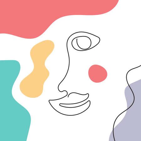 Outline of a smiling human face on abstract background. Doodle, sketch. Modern vector illustration. Иллюстрация