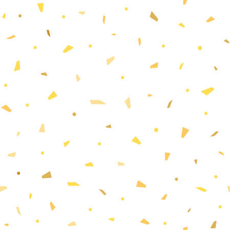 Festive seamless pattern with gold confetti scattered on white background. Endless texture. Simple vector illustration.