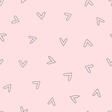 Seamless pattern with hearts drawn by hand. Doodle, sketch. Cute vector illustration.