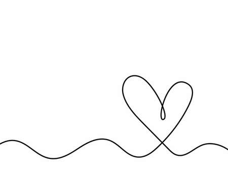 Simple minimalistic background with heart drawn by hand. Doodle, sketch. Vector illustration.