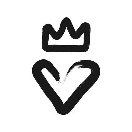 Heart and crown drawn by hand with a rough brush. Grunge, sketch, graffiti, watercolor, ink. Simple vector illustration.