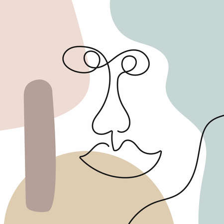 Funny sketch of a human face drawn by hand with a single line. Abstract background. Modern vector illustration.