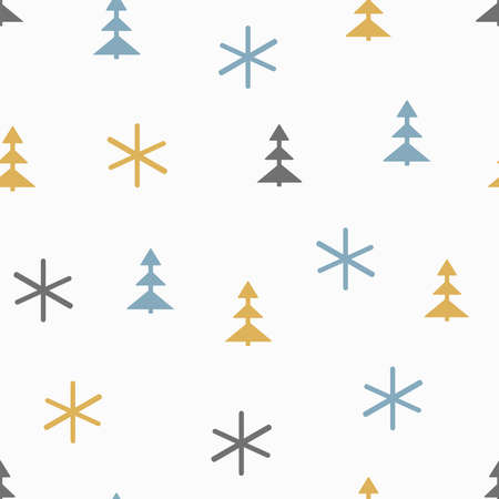 Simple seamless pattern with Christmas trees and snowflakes. Drawn by hand. New year vector illustration.